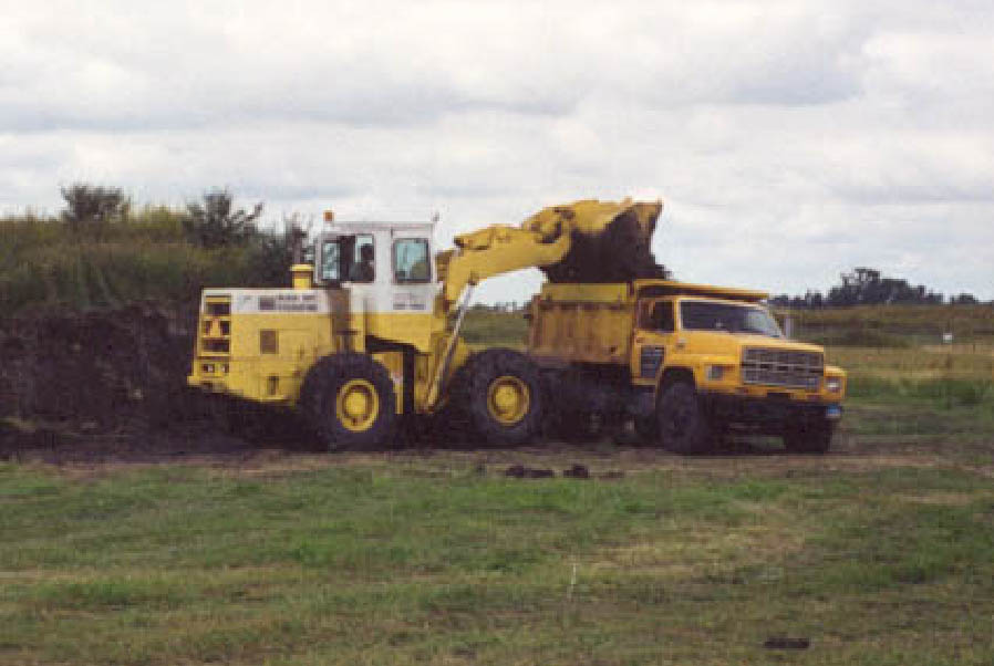 payloader and dump truck